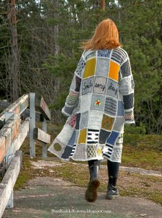 Patchwork jacket from leftover yarns - Ihan Kaikki Kotona Sweater Knitting Patterns, Crochet Cardigan, Knit Crochet, Knitting For Kids, Knitting Ideas, Fashion Project, Knit Jacket, Boho Fashion, Villa