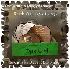 Rock Art Task Cards (INCLUDED in Cave Paintings & Petroglyphs Museum Bundle) from ThematicTeacher on TeachersNotebook.com (11 pages)  - Students explore stone age art with this collection of 14 task cards.  The projects require materials commonly found in classrooms and school playgrounds. Stone Age Art, Create A Cartoon, Teacher Notebook, Story Of The World, Iron Age, Teaching Art, Task Cards, Rock Art, Art Lessons