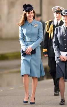 The Duchess Of Cambridge marks the 75th anniversary of RAF Air Cadets in a powder blue coat.