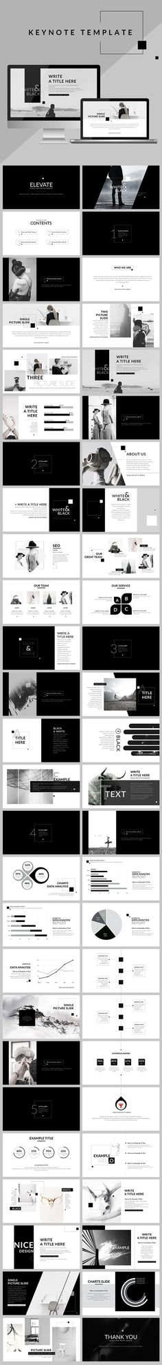 Black & White - Clean Keynote Template #minimal #marketing #best • Click here to download ! http://graphicriver.net/item/black-white-clean-keynote-template/16100964?ref=pxcr: