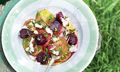 Beetroot, Sicilian tomato and goat's curd salad.   serves 6 young beetroot 1 bunch, with leaves red wine/white wine/cider vinegar 1 tbsp Sicilian tomatoes 6 medium mint leaves a handful lemon juice olive oil salt and pepper goat's curd (or any young fresh goat's cheese) 150g