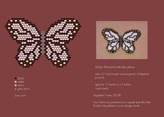 beaded albino monarch butterfly pattern (pendant/pin) by Angielina Grass, Seed Bead Patterns, Peyote Patterns, Jewelry Patterns, Beading Patterns, Motifs Perler, Do It Yourself Jewelry, Peyote Beading, Beaded Animals, Butterfly Pattern
