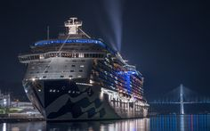 Download wallpapers Majestic Princess, luxury ship, cruise liner, evening, seaport