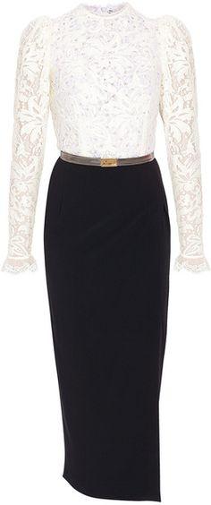 ALESSANDRA RICH Lace Panel Skirt Dress