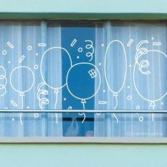 Feest ballonnen, confetti en serpentines #raamtekening Chalk Markers, Store Windows, Chalkboard Art, Art Boards, Birthday Parties, Diy Crafts, Handmade, Painting, Chalkboards