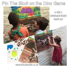 Pin The Skull On The Dinosaur | Dinosaur Roar Party Kit | Kit & Caboodle Parties | Dinosaur Party Ideas | Awesome Party Activities | Dinosaur Party Inspiration | Dinosaur Party Games