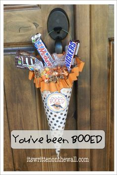 (Freebie) You've been BOOed Halloween Treats - Free Printable and tutorial for cute Halloween candy cone.     It's Written on the Wall: