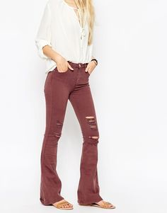 Image 1 of ASOS Bell Flare Jeans In Red Rust With Shredded Rips