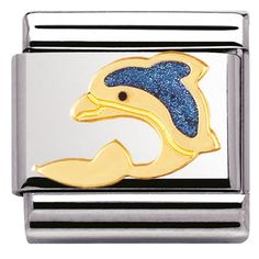 Buy Classic Gold & Blue Dolphin Charm by Nomination from our Charms & Beads range - Blue, Gold, Stainless Steel, Enamel, Animals - @ Joshua James Jewellery Nomination Charms, Nomination Bracelet, Personalized Jewelry, Custom Jewelry, John Greed Jewellery, Sea Dolphin, James Jewelry, Water Animals, Classic Gold