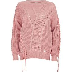 Knit fabric Ladder inserts Ribbon tie-up design Lazer cut knit detailing Cable knit Ribbed trims Round neck Long sleeve Our model wears a UK 8 and is tall Pink Long Sleeve Tops, Long Sleeve Sweater, Pink Jumper, Knit Tie, Summer Tops, Trendy Outfits, Trendy Clothing, Boho Fashion, Knitwear