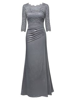 5d19fe5b95f Miusol Damen Elegant Hochzeit Abendkleid Rundhals Schwarze Spitzen  Brautjungfer Cocktailkleid Vintage Cocktailkleid Langes Kleid  Amazon.de   Bekleidung