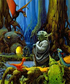 TESB: This is a painting of Yoda for an unproduced children's book.  For a children's book, Ralph McQuarrie felt that the cover should be light and fun.  (Hence, the bright colors.)  While the children's book was never produced, this image was ultimately used for The Empire Strikes Back Radio Dramatization poster, the cover of the Jedi Master's Quiz Book, as well as a fan club sticker.