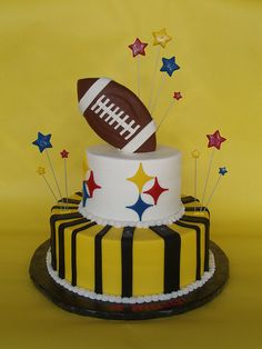 @Dane Franklin Becker maybe something like this but football cake on top laying down. I don't know how they made it sit like that.