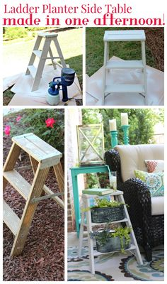 Ladder Side Table Planter - so perfect for outdoor space!