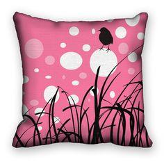 Decorative Art Pillow Cover Blackbird on Pink