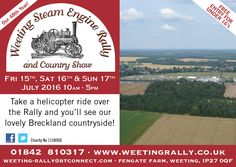 Take a helicopter ride over the Weeting Steam Engine Rally & Country Show and see the Brecks from the air - this stunning countryside along with the Rally site!
