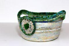 Beach Glass Wedding Basket , Clothesline Rope Bowl , Rope Gift Basket by SallyManke on Etsy