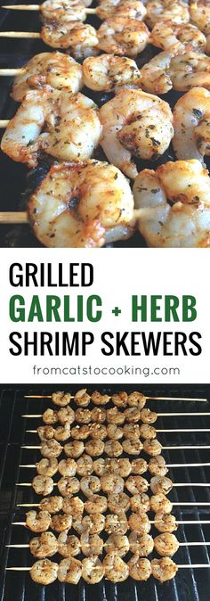 Grilled Garlic Herb Shrimp Skewers Recipe that's paleo, gluten free and Whole 30 friendly! Perfect for grilling on a nice spring or summer day. Click through for the recipe or pin this for later!