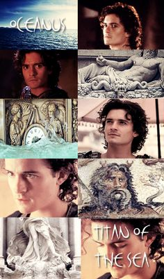 """GREEK MYTHOLOGY MEME ® MINOR DEITIES & TITANS 15/30  """" ∟Orlando Bloom as O C E A N U S  A titan often depicted as having the upper body of a muscular man with a long beard, horns, and the lower body of a serpent. Oceanus' consort is his sister Tethys,..."""