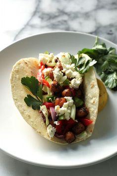 Greek Salad Chickpea Tacos
