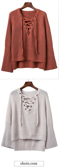 V Neck Lace Up Raglan Sleeve Sweater