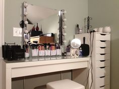 The popular Alex unit from IKEA paired with the Malm dressing table. Lots of room to store makeup and hair products <3