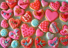 Heart and love themed biscuits