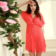 2e62d37def Womens Nightdress Sexy Lace Splicing Nightgowns Batwing Sleeve V-Neck Woman  Sleepwear Nightgown Chemise De Nuit Ladies Nightgown