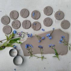 The 1st stages of Forget-me-not brooches and necklaces for the Country Living Spring Fair ....now biscuit fired with just a week to go!!! #forgetmenots #clspringfair #popupmarket #damsontreepottery