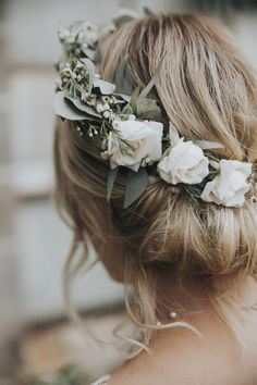 updo wedding hairstyle with white and greenery floral crown hairstyles with crown 20 Gorgeous Wedding Hairstyles with Flowers for Fall - Oh Best Day Ever Elegant Wedding Hair, White Wedding Flowers, Flower Crown Wedding, Wedding Hair And Makeup, Wedding Updo, Hair Makeup, Bridesmaid Flower Crowns, Wedding White, Wedding Hair Floral Crowns