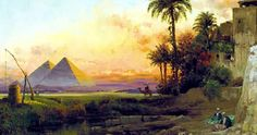 Egypt , Old Cairo Paintings: Carl Wuttke (German, 1849-1927) - The Pyramids at Dusk, 1907
