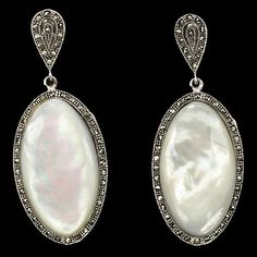 JUMBO! NATURAL 66x27mm. IRIDESCENT MOTHER OF PEARL-MARCASITE 925 SILVER EARRINGS #DropDangle