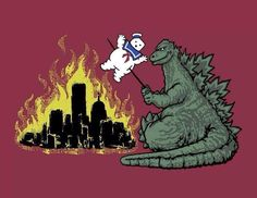 Nooooo! Bad Godzilla, put Stay-Puft down now!