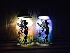 Tinker Bell Fairy Day OR Night Mason Jar Light Outdoor Solar Light Hand Painted Mason Jar Hanging Lantern Quart Size Outdoor Lighting