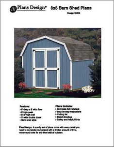 8' X 8' Barn/gambrel Storage Shed Project Plans -Design #...