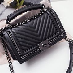 #Fashion #Black #Chain #V #Design #Pattern #Hand #Bag
