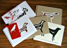 Cut paper dog cards from Etsy shop The Red Corvid.
