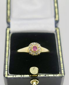 A Superb Victorian yellow gold ruby diamond cluster ring. As was common for the period the ring is not hallmarked, but has been tested and Victorian Gold, Diamond Cluster Ring, Memento Mori, Georgian, Heart Ring, Sapphire, Amp, Yellow, Rings