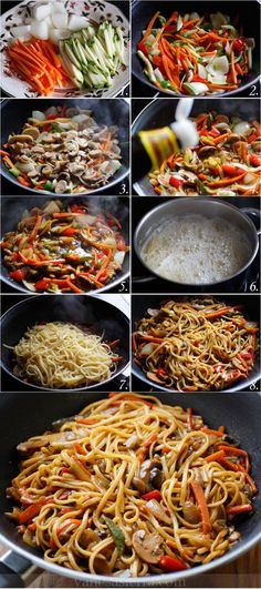 Tallarines con verduras, paso a paso (receta china): Noodles with vegetables, step by step (Chinese recipe): Veggie Recipes, Asian Recipes, Vegetarian Recipes, Cooking Recipes, Healthy Recipes, Free Recipes, Mexican Recipes, I Love Food, Good Food