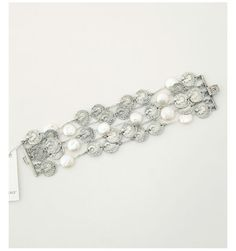 5 Row Vintage Silver White Coin Pearl Bracelet by TAT2 DESIGNS