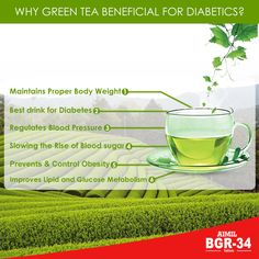 Drinking #GreenTea is helpful for people with #diabetes because tea contains substances called polyphenols, which help to support many of the body's systems. #WorldHeathDay  Website : www.bgr-34.life [http://www.bgr-34.life/_green]