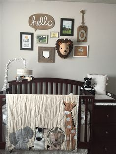 Baby boys nursery theme-grey, black & white, brown and yellow/ African safari/where the wild things are/lion king