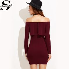 Long Sleeve Dress Womens Clothing Winter Dresses Women Sexy Dresses Burgundy Off The Shoulder Ruffle Bodycon Dress Couture Mode, Style Couture, Couture Fashion, Trendy Dresses, Women's Fashion Dresses, Sexy Dresses, Dresses With Sleeves, Sleeve Dresses, Sexy Party Dress