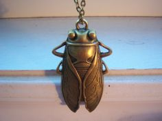 Large Cicada Necklace  Bug Necklace  Free Gift With by tamsglam, $22.49