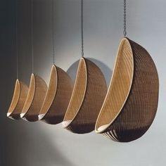 rattan suspended garden chair EGG by Nanna Ditzel Bonacina Pierantonio
