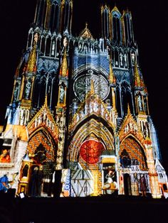 Light show on the cathedral in Reims, France