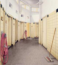 tegels in de gang van een badhuis