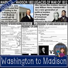 Presidencies of Washington, Adams, Jefferson & Madison PowerPoint & Guided Notes - Use this 100+ page resource to learn about our first presidents. You'll receive information on the first cabinet, Judiciary Act of 1789, French Revolution, Jay Treaty, Whiskey Rebellion, Aaron Burr, Embargo Act, War of 1812, and much more. Great for use with your 7th, 8th, 9th, 10th, 11th, and 12th grade classroom or homeschool students. Middle School & High School approved!