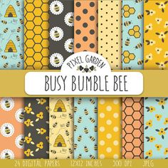 Bee digital paper set with patterns of bees, honeycomb, florals, beehives and polka dots in warm and summery colors - yellow, orange, brown,