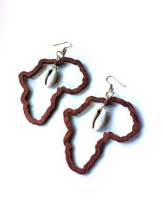Africa Earrings Cowrie Shell Earrings Afrocentric by NDesignz, $12.00